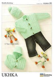 31ba9257c VAT Free Hand Knitting Pattern DK Baby Toddler Jackets Hat New ...