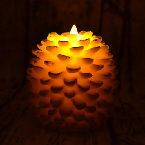 Luminara Artistial Pine Cone Led Candle,Flicker Unscented Real Wax-Effect 2Pcs