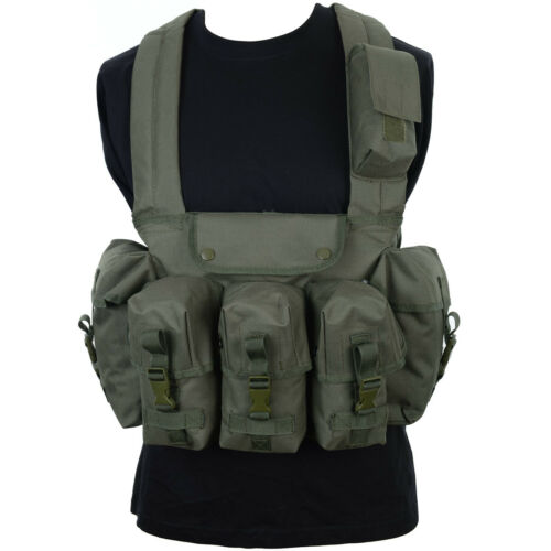 Olive Green 6 Pocket Chest Rig Army Assault Vest Webbing Airsoft Military New