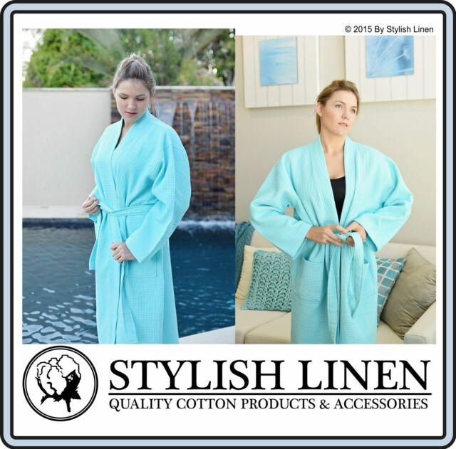 Bathrobe 100% Cotton Waffle Bath Robe New Adult Dressing Gown Unisex Aqua x 1