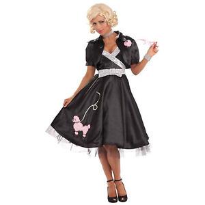 nuovi stili e2e7d d2aa6 Dettagli su Barboncino Diva Donna Adulto Anni 50 Ballerina Nero Costume  Halloween