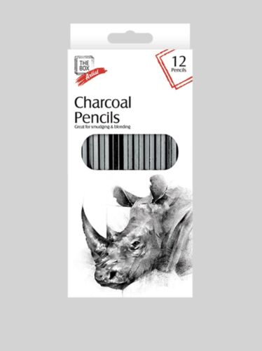 12x Artist Charcoal Pencils for Sketching Drawing, Shading, Tones & Art
