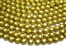 6mm Matte Metallic Aztec Gold Czech Glass Firepolished Round Beads (25) #3534