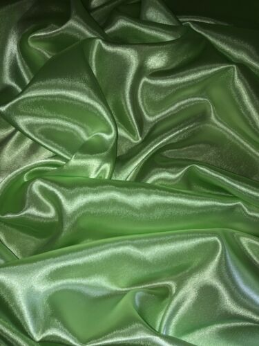 """114cm 1 mtr lime green silky smooth lining satin fabric..45"""" wide"""