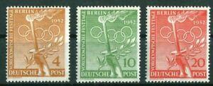 Berlin-Nr-88-90-sauber-postfrisch-Vorolympische-Festtage-1952-MNH