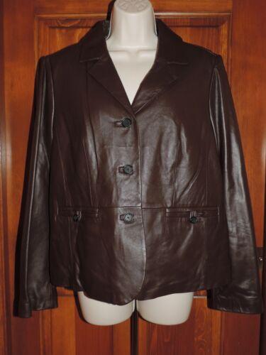 S Small Button Down Jacket Liz Størrelse Frakke Claiborne Chokolade Læder HFq7x18z