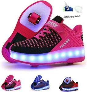 USB-Lade Kinder Mädchen Single Wheel Schuhe leuchten