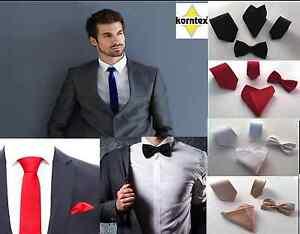 Korntex-Krawatte-schmal-klassisch-Fliege-Einstecktuch-Krawattenset-Business