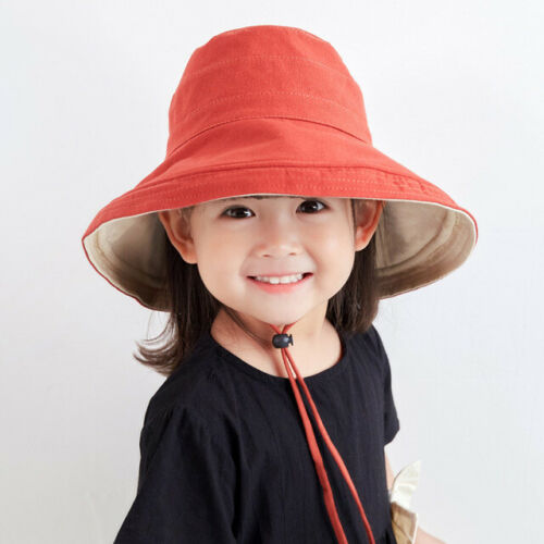 Kids Colourful  Reversible Sun Hat with ties for Boys Girls Bucket Hat