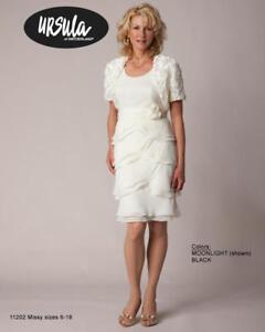 Ursula of Switzerland Women/'s White Chiffon Dress /& Jacket Size 16