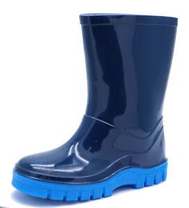 Linea Ragazzo Bambino Blu Stivali di gomma Stivali Di Gomma Pioggia Splash Stivali Neonati Scuola TG 4-12