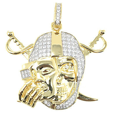 Mens Real White Gold Sterling Silver Simu Diamond Oakland Raiders Pendant Charm