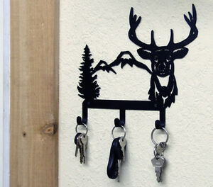 DEER HEAD KEY HOLDER WILDLIFE METAL ART HUNTING CABIN RUSTIC LODGE ...