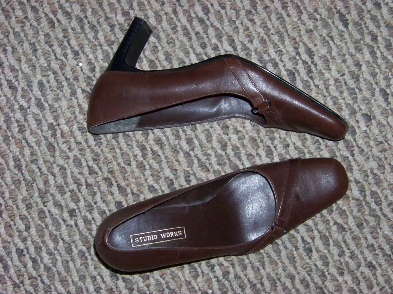 womens angle studio works brown leather angle womens strap heels shoes size 7 1/2 dd40e4