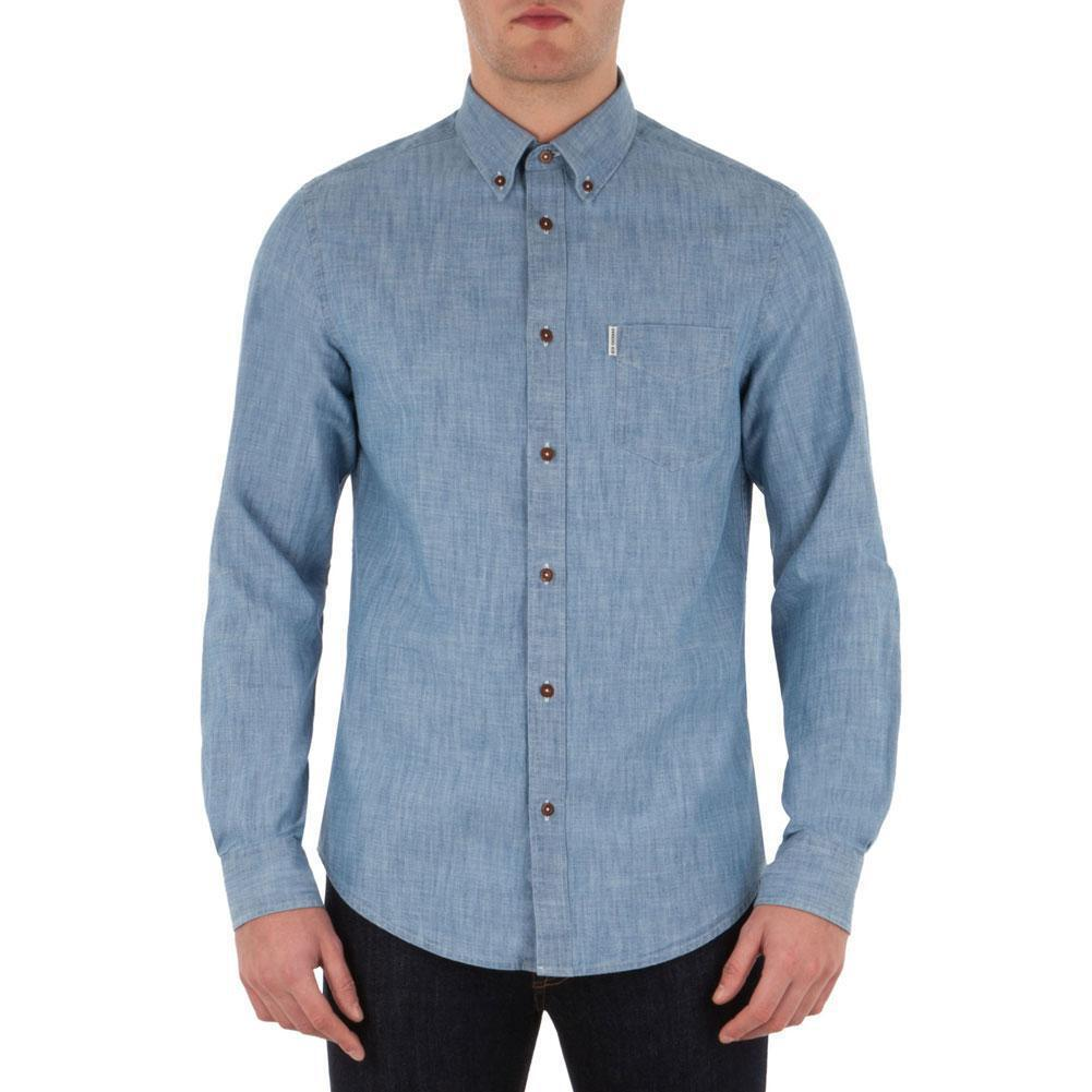 Ben Sherman - New Chambray  Herren Button-Up Long Sleeve Shirt