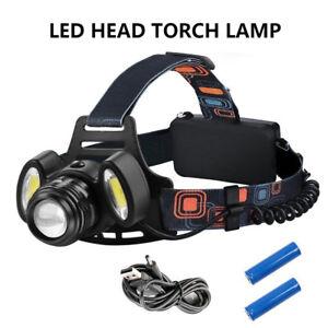 Ricaricabile-Torcia-Lampada-da-testa-frontale-CREE-XM-L-T6-USB-LED-COB-Luce-600m