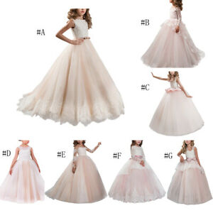 Pageant Flower Girl Princess Dress Tulle Long Gown for Kids Wedding Bridesmaid