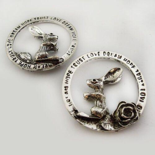 2 x Tibetan  Silver Circle Rabbit  dream hope love Charms e40 Closing Down Sale