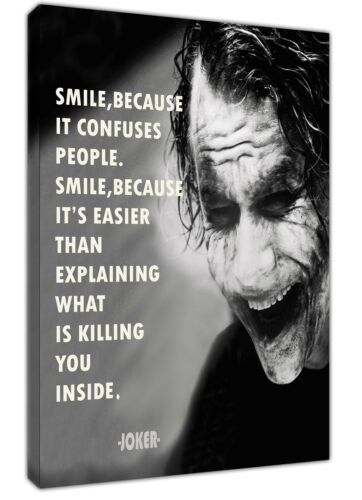 JOKER SMILE BECAUSE PHOTO PRINT ON FRAMED CANVAS WALL ART HOME DECORATION