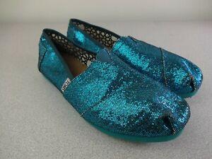 TOMS-Classics-7-5-Blue-Glitter-Sparkle-Canvas-Slip-On-Flats-Shoes-Womens-W7-5