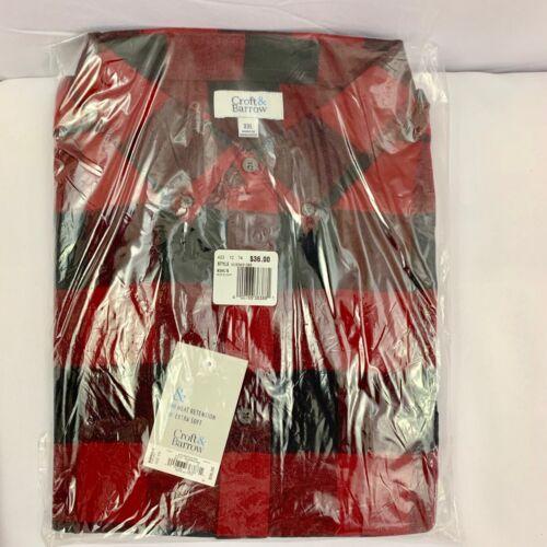 Men/'s Croft /& Barrow Slim-Fit Flannel Button-Down Shirt size XXL 2XL 2X New