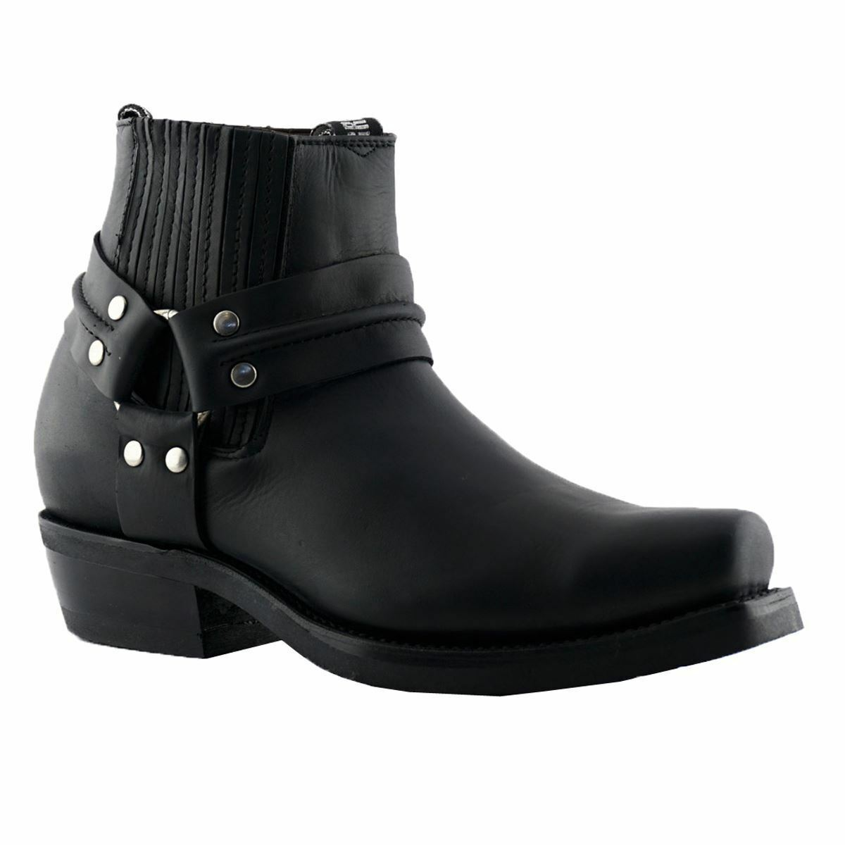 New Grinders Eagle Lo Black Unisex Leather Boot Cowboy Western Bikers High Boots