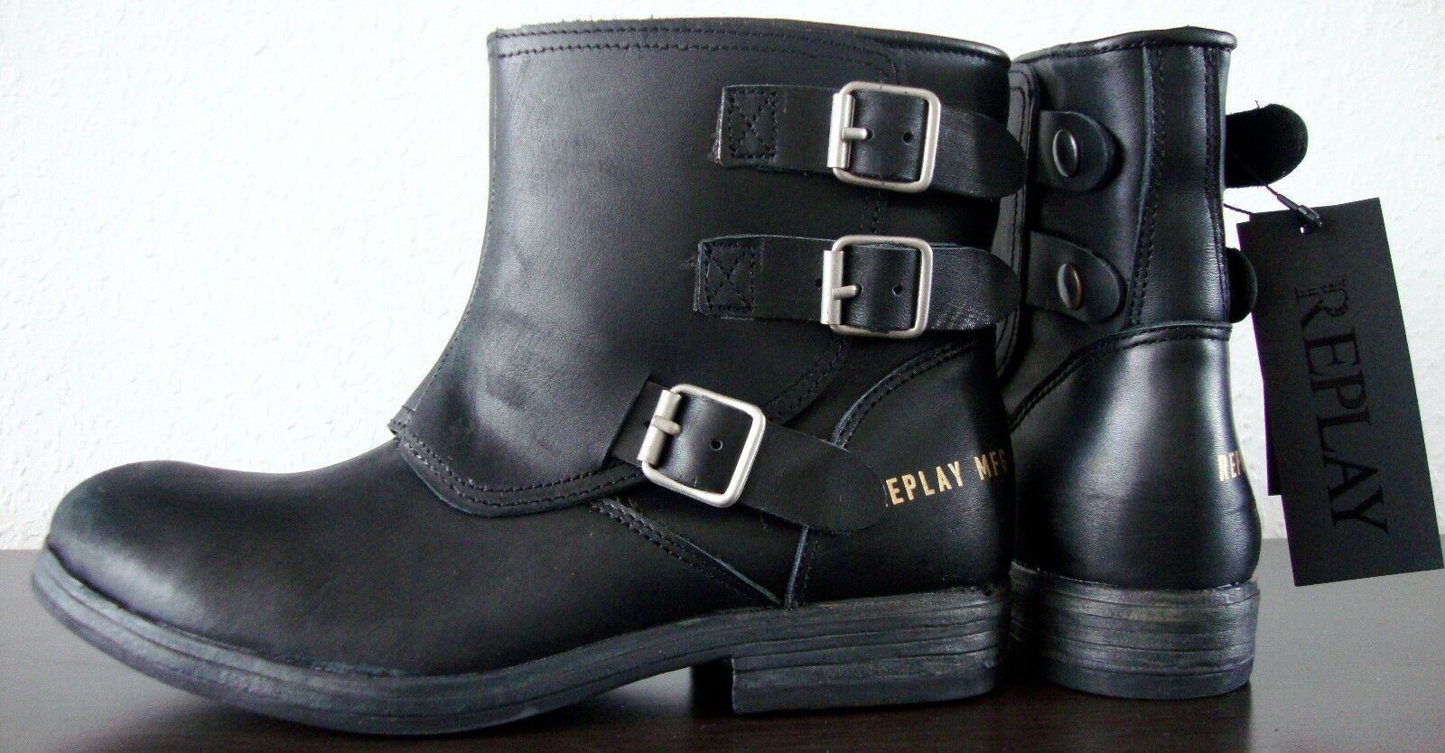 Replay narie botas de motorista señora Bootie botín botín Bootie botas de cuero negro gr39 nuevo 24863e