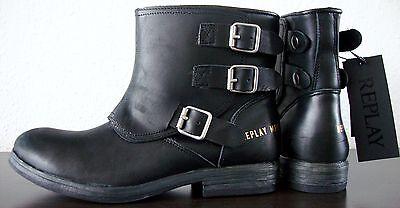 REPLAY NARIE Biker Boots Damen Bootie Stiefelette Stiefel Leder Schwarz Gr39 NEU | eBay