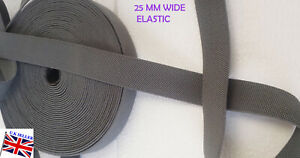 Elastic-25mm-Stretch-Waistband-Grey-Woven-Tape-Webbing-Sewing-Upcycle-Cuff