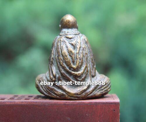 7 CM Tibet Pure Bronze Dharma Bodhidharma Daruma Master Of Zen zazen sculpture