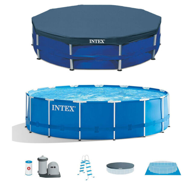 Intex Above Ground Swimming Pool Set with Maintenance Swimming Pool Kit