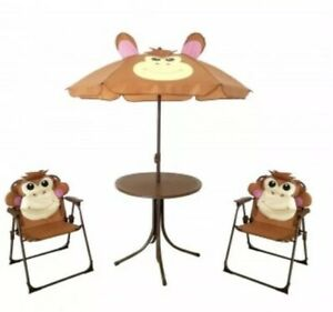 Excellent Details About 3 Piece Kids Monkey Patio Lawn Furniture Set With Table And Two Chairs Inzonedesignstudio Interior Chair Design Inzonedesignstudiocom
