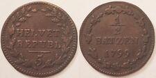Suisse, République Helvetique, 1/2 Batzen 1799, Rare !!