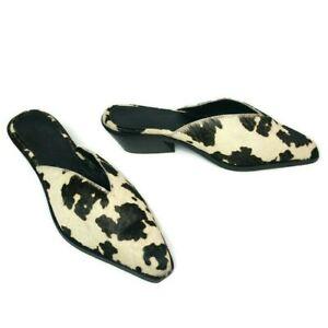 ASOS Mambo Western Women's Open Toe Cow Print Leather Slip On Block Heel Mules