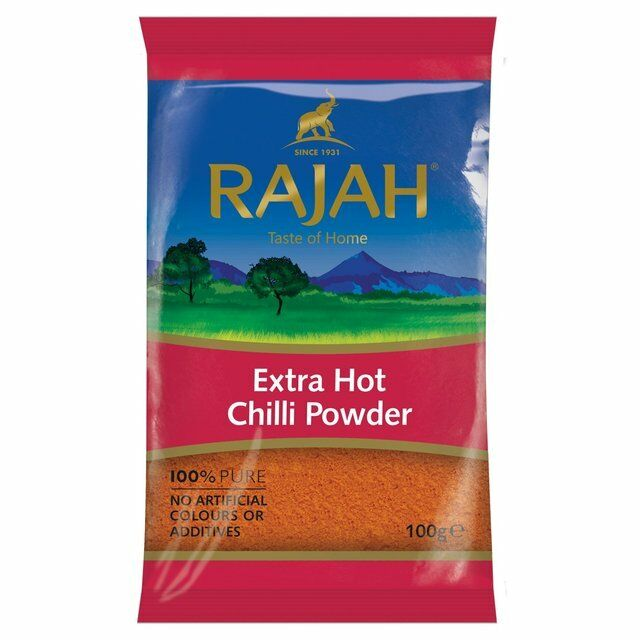 RAJAH EXTRA HOT CHILLI POWDER 100G -100% pure,No artificial colours or additives