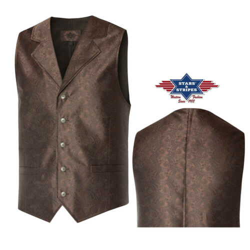 """/""""Full House/"""" country western marron Stars and Stripes homme GILETS ref"""