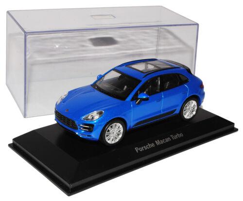 Porsche Macan Turbo zafiro azul metálico de welly 2014 1//43 coche del modelo con od...