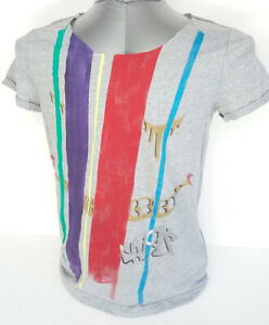 Artistic-t-shirt-worked-and-hand-painted-in-Italy-cotton-gray-size-M-new