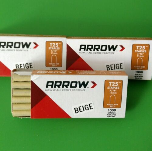 "3 PACKS ARROW T25 BEIGE #257 Round Crown Staples 716""11mms 1000pk x 3"