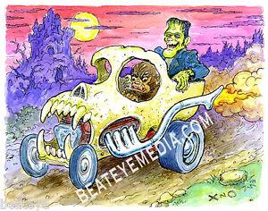XNO-ORIG-ART-COMICS-FRANKENSTEIN-CARTOON-MONSTER-COMIX-COMIC-ART-WOLFMAN-TATTOO