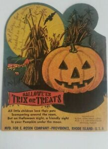 EXTREMELY-RARE-1930-039-S-VINTAGE-HALLOWEEN-E-ROSEN-CO-JOL-TRIX-OR-TREAT-CANDY-CARD