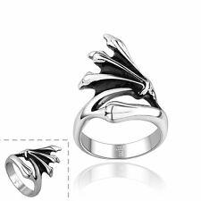 Men's Unisex Stainless Steel Ring Plain Dragon Hand Wings Size 10 L65