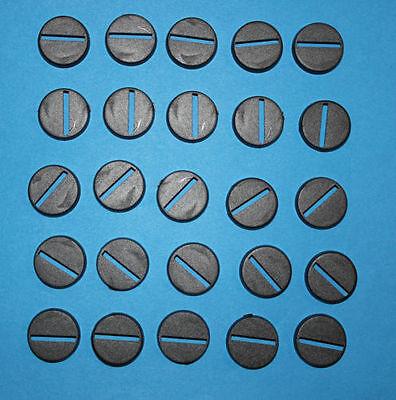 100 (cento) 20mm Rotondo Plastica Basi War Game Ruolo Nero In Plastica-