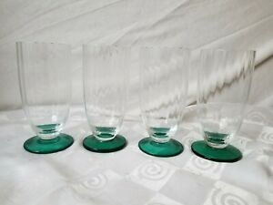 Crystal-Parfait-Ice-Tea-Glasses-Ribbed-Optic-Teal-Green-Footed-Goblets-Set-of-4
