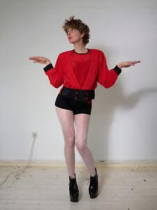 Blouse 80s Black 80er Vintage Bluse Damenbluse Pierot Schwarz Red Rot True x0THn8Cqw