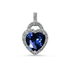 Blue Sapphire & CZ Heart .925 Sterling Silver Pendant