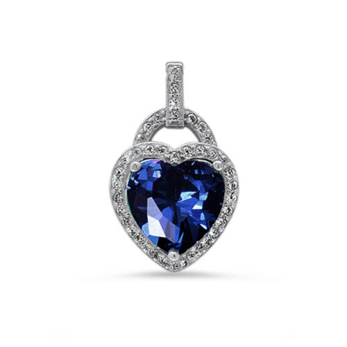 Blue Sapphire /& CZ Heart .925 Sterling Silver Pendant