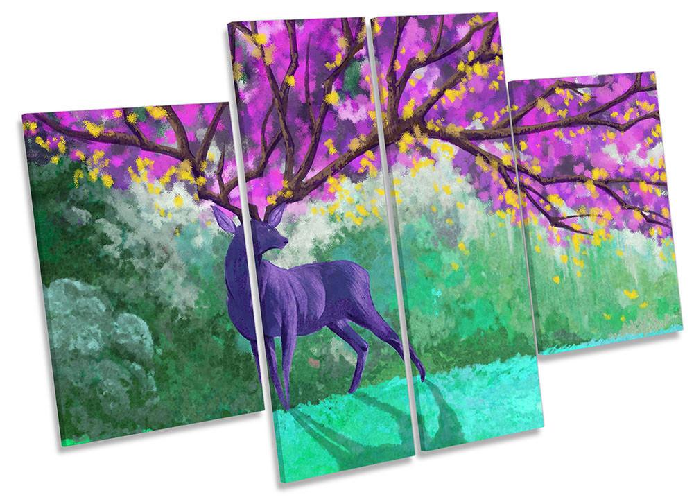 Stag Lienzo Enmarcado Cuernos de Ciervo Rosa Floral Print Print Floral cuatro Panel Pared Arte c45bcb