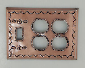 Mexican Tin Quadruple Outlet And Single Togle Wall Plate Light