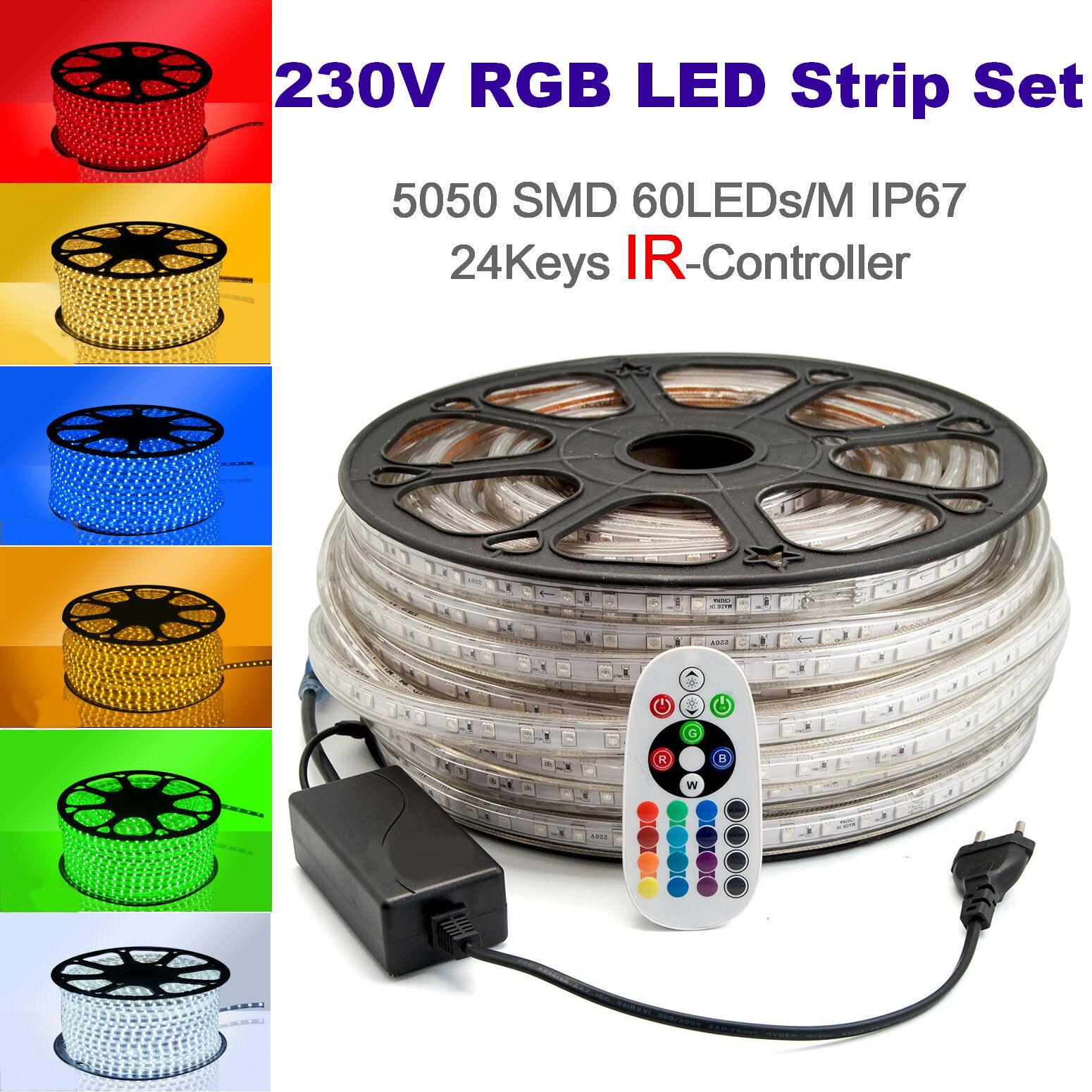 15 Meter 230V LED RGB Strip Streifen 60 LEDs M IP67 IR Controller Dimmbar B-Ware
